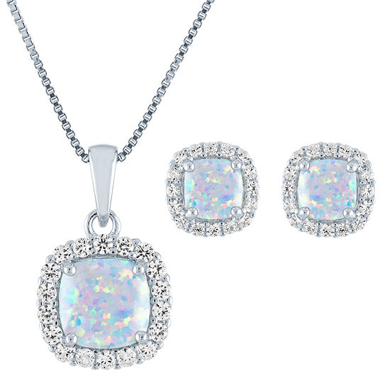 Lab Created White Opal Sterling Silver 2-pc. Jewelry Set