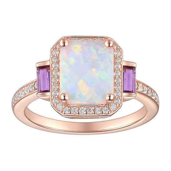 Womens Lab Created White Opal 14K Rose Gold Over Silver Cocktail Ring