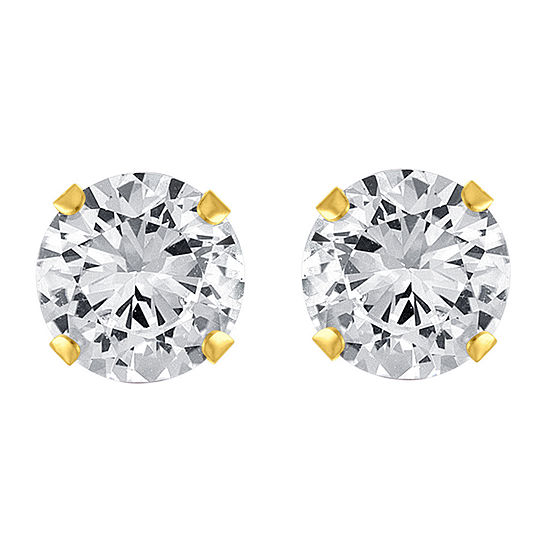 Lab Created White Sapphire 10K Gold 7mm Stud Earrings