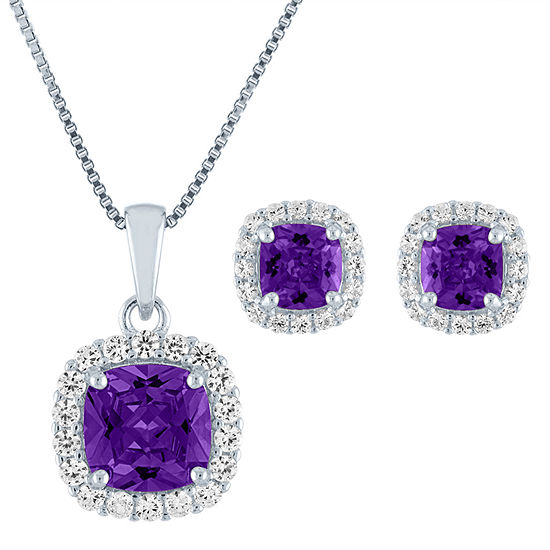 Lab Created Purple Amethyst Sterling Silver 2-pc. Jewelry Set