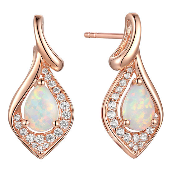 Lab Created White Opal 14K Rose Gold Over Silver Drop Earrings