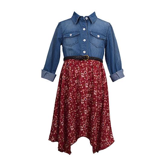 Bonnie Jean Girls Long Sleeve Floral A-Line Dress - Preschool / Big Kid Plus