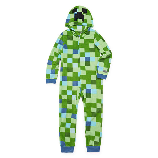 Boys Microfleece One Piece Pajama Minecraft Long Sleeve