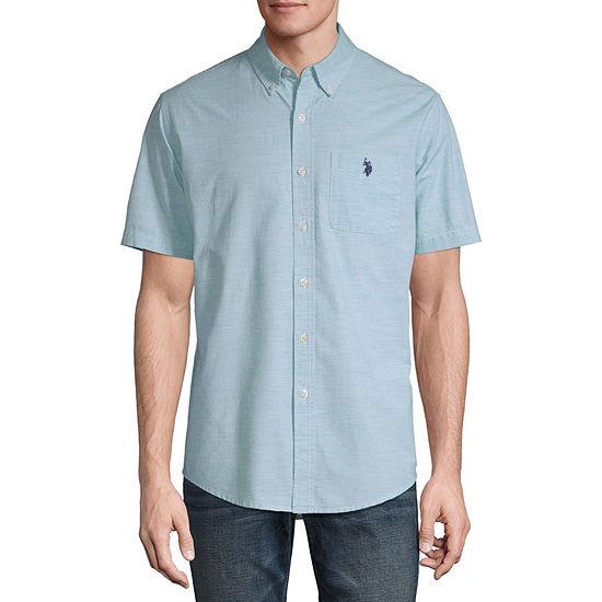 U.S. Polo Assn. Mens Short Sleeve Striped Button-Front Shirt