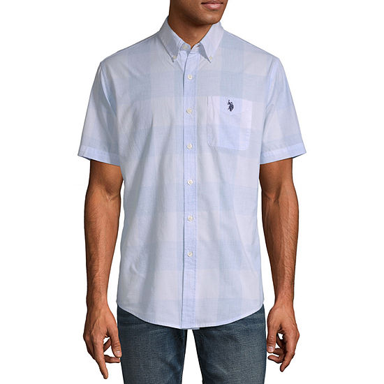 U.S. Polo Assn. Mens Short Sleeve Plaid Button-Front Shirt