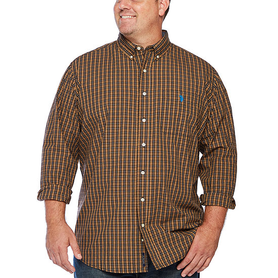 U.S. Polo Assn. Big and Tall Mens Long Sleeve Button-Front Shirt
