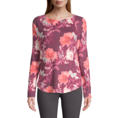 St. John's Bay Active-Womens Super Soft Round Neck Long Sleeve T-Shirt