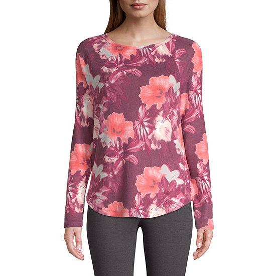 St. John's Bay Active-Womens Super Soft Round Neck Long Sleeve T-Shirt