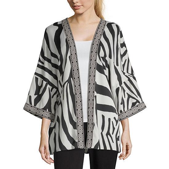 Worthington Womens 3/4 Sleeve Kimono