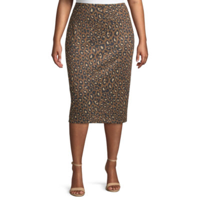 Worthington Womens High Rise Scuba Pencil Skirt - Plus