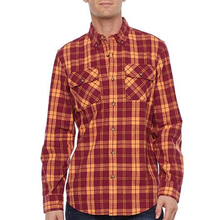 1930s Men's Clothing St. Johns Bay Mens Long Sleeve Plaid Button-Down Shirt Large  Orange $40.00 AT vintagedancer.com
