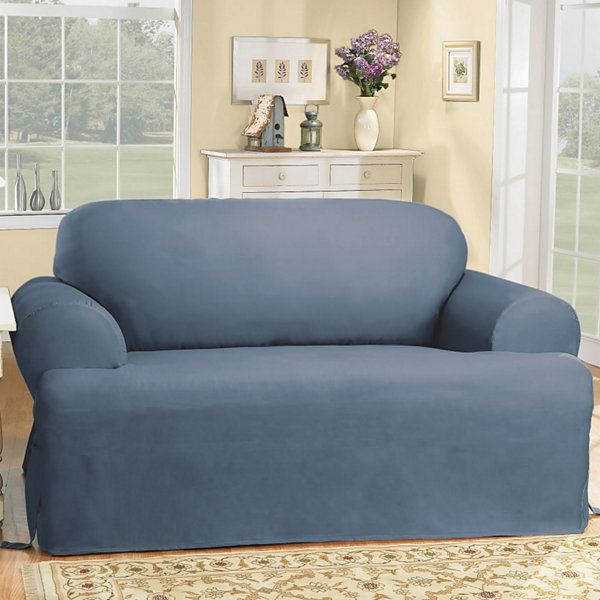 SURE FIT® Cotton Duck T Cushion Loveseat Slipcovers