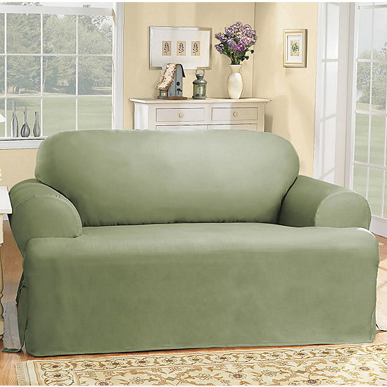 Astonishing Sure Fit Cotton Duck T Cushion Loveseat Slipcovers Dailytribune Chair Design For Home Dailytribuneorg