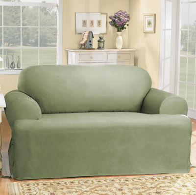 Sure Fit Cotton Duck T Cushion Loveseat Slipcovers