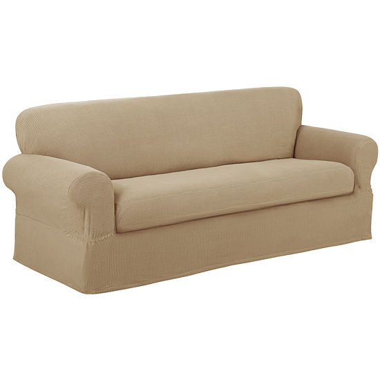 Maytex Smart Cover® Reeves Grid Stretch 2 Piece Loveseat Furniture Cover Slipcover