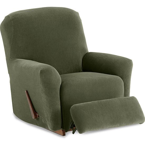 Maytex Smart Cover® Collin Pinstripe Stretch 4 Piece Recliner Chair Furniture Cover Slipcover