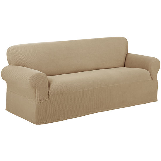 Maytex Smart Cover® Reeves Grid Stretch 1 Piece Sofa Furniture Cover Slipcover
