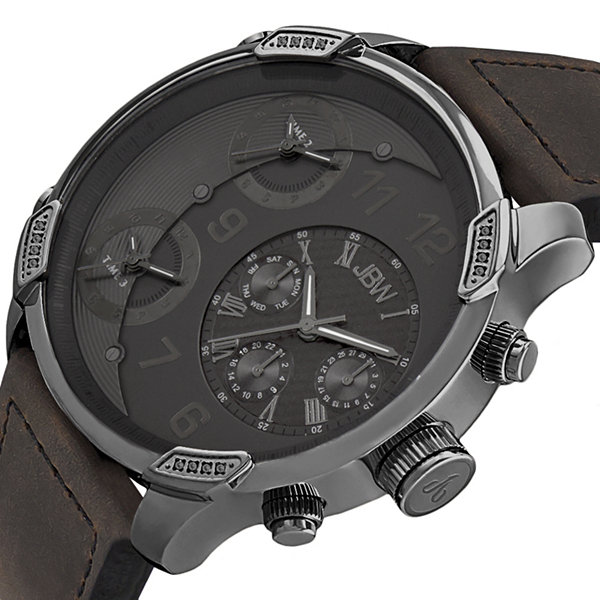 JBW The G4 Mens Diamond-Accent Brown Leather Strap Watch J6248LK