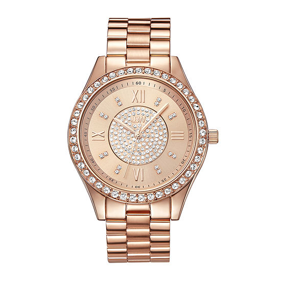 JBW Mondrian Womens Diamond- and Crystal-Accent Rose-Tone Stainless Steel Bracelet Watch J6303C