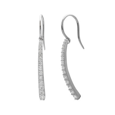 Graduated Cubic Zirconia Silver-Plated Bar Drop Earrings