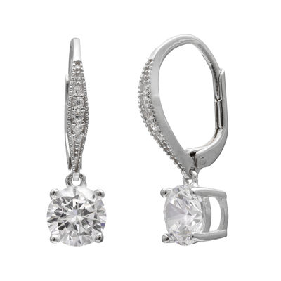 Round Cubic Zirconia Silver-Plated Drop Earrings