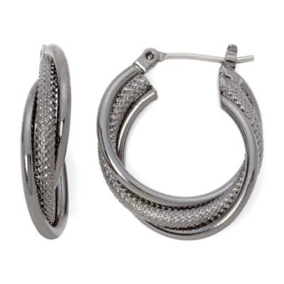 Liz Claiborne® Hematite Twist Hoop Earrings