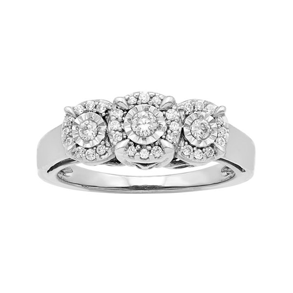 LIMITED QUANTITIES 1/4 CT. T.W. Diamond 10K White Gold 3-Stone Ring