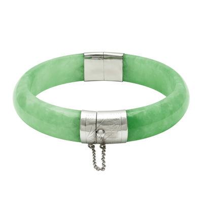 Dyed Genuine Green Quartz Sterling Silver Hinged Bangle Bracelet