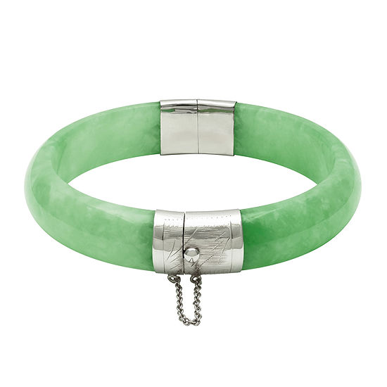 Dyed Genuine Green Quartz Sterling Silver Hinged Bangle Bracelet