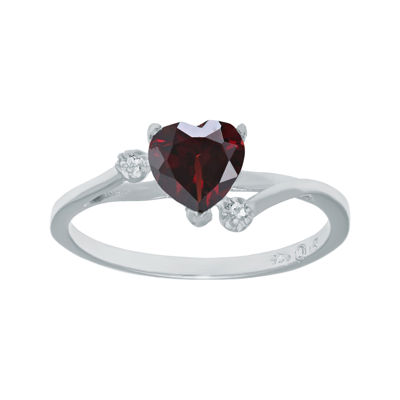 Genuine Garnet and White Topaz Sterling Silver Heart-Shaped Ring
