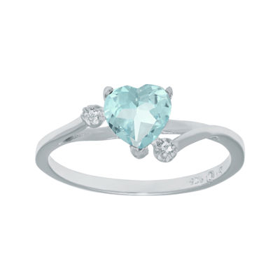 Lab-Created Aquamarine and Genuine White Topaz Sterling Silver Heart-Shaped Ring