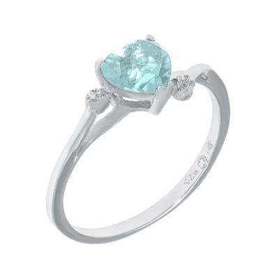 Simulated Aquamarine and Genuine White Topaz Sterling Silver Heart-Shaped Ring