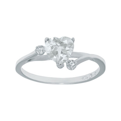 Genuine White Topaz Sterling Silver Heart-Shaped Ring