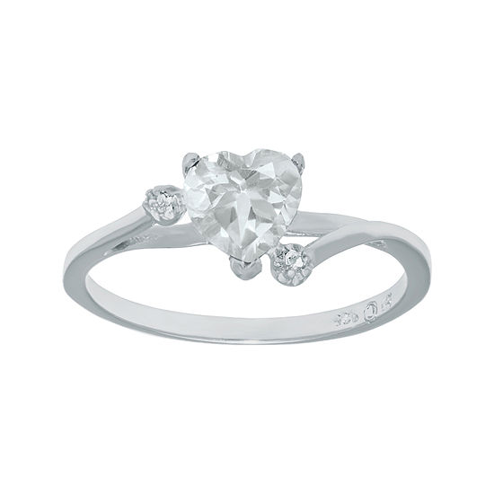 Genuine White Topaz Sterling Silver Heart Shaped Ring