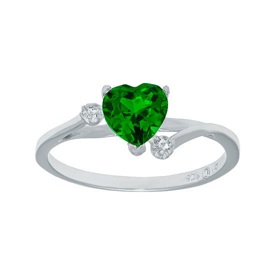 Lab-Created Emerald and Genuine White Topaz Sterling Silver Heart-Shaped Ring