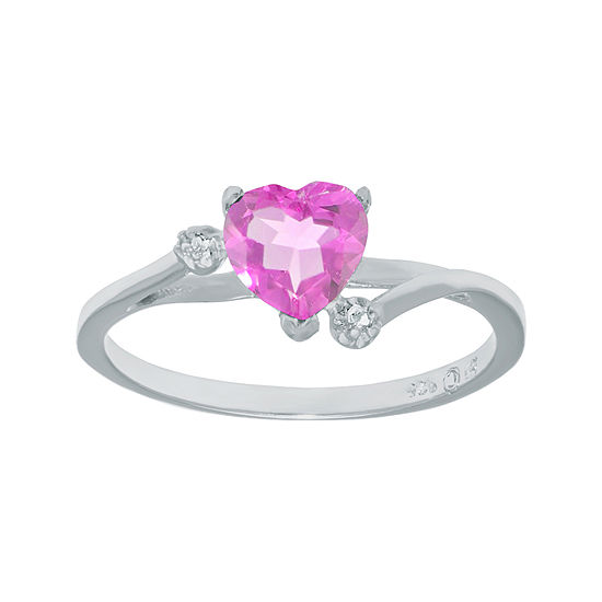 Lab-Created Pink Sapphire and Genuine White Topaz Sterling Silver Heart-Shaped Ring