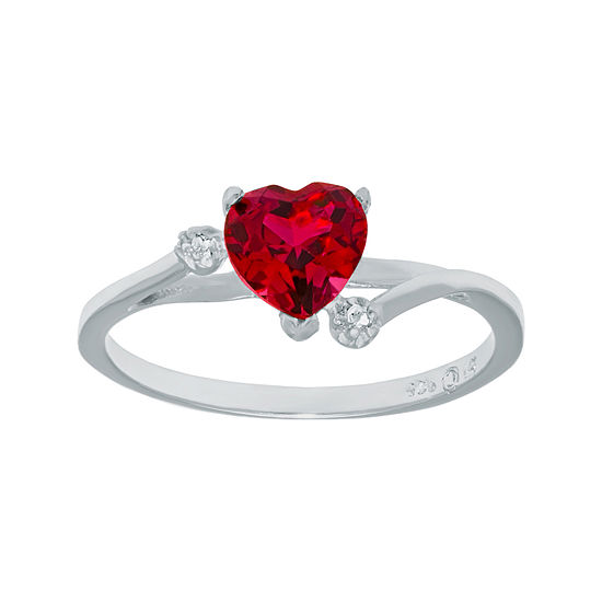 Lab Created Ruby And Genuine White Topaz Sterling Silver Heart Shaped Ring