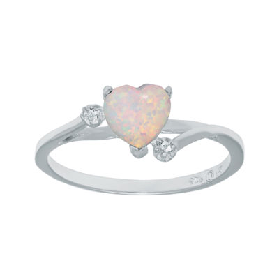 Lab-Created Opal and Genuine White Topaz Sterling Silver Heart-Shaped Ring