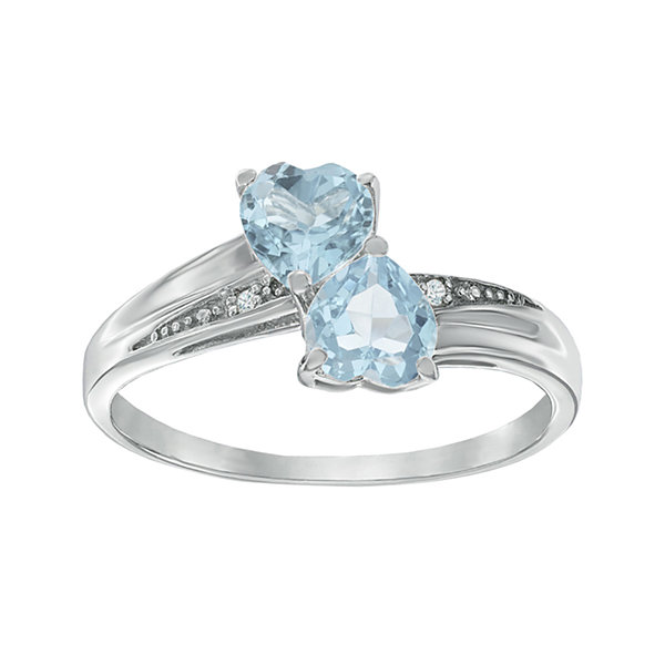 Simulated Aquamarine and Diamond-Accent Sterling Silver Double-Heart Ring