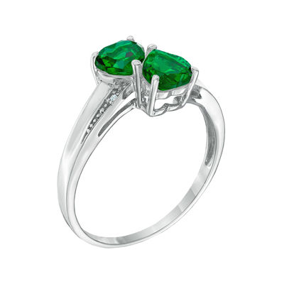 Lab-Created Emeralds and Diamond-Accent Sterling Silver Double-Heart Ring