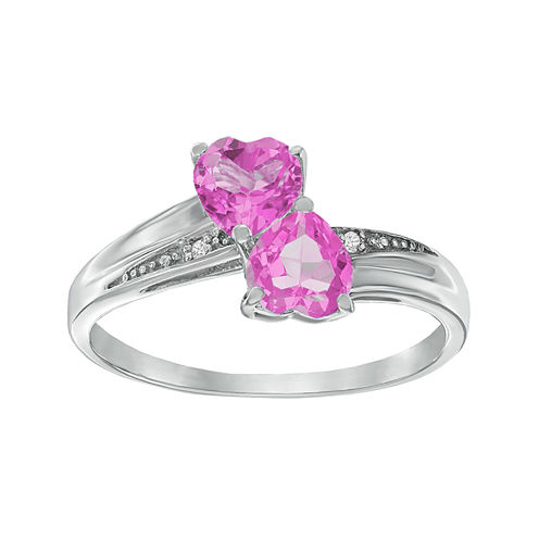 Lab-Created Pink Sapphire and Diamond-Accent Sterling Silver Double-Heart Ring