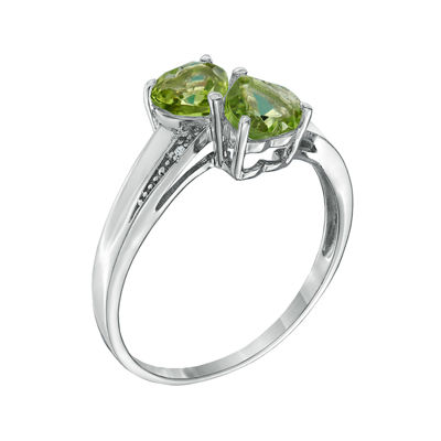 Genuine Peridot and Diamond-Accent Sterling Silver Double-Heart Ring