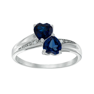 Lab-Created Blue Sapphire and Diamond-Accent Sterling Silver Double-Heart Ring