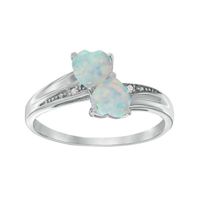 Lab-Created Opal and Diamond-Accent Sterling Silver Double-Heart Ring