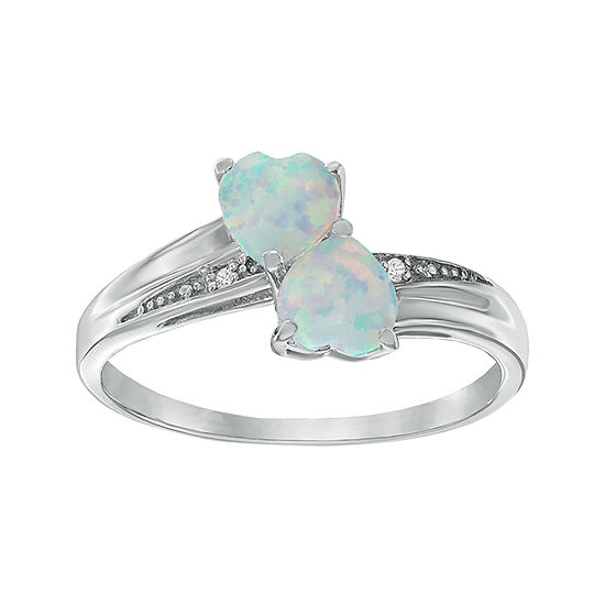 Lab Created Opal And Diamond Accent Sterling Silver Double Heart Ring