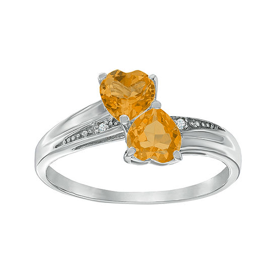 Genuine Citrine and Diamond-Accent Sterling Silver Double-Heart Ring