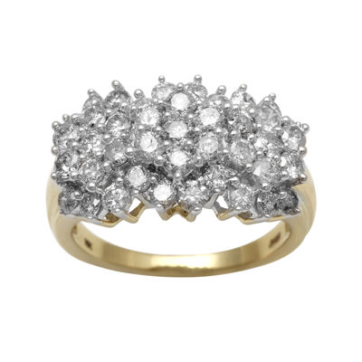 2 CT. T.W. Genuine Diamond 10K Yellow Gold Cocktail Cluster Ring
