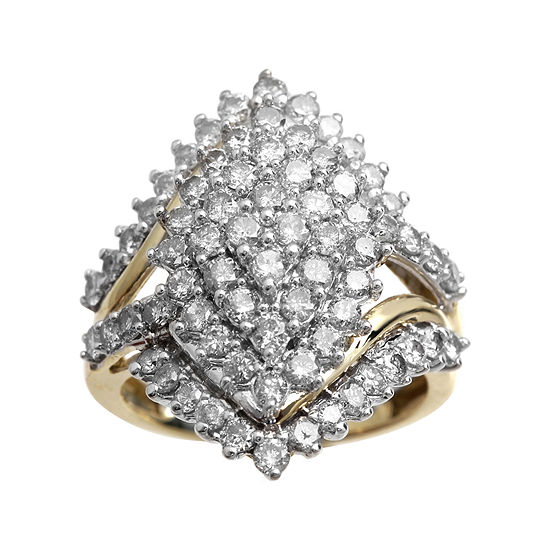 2 CT. T.W. Genuine Diamond 10K Yellow Gold Marquise-Shape Cocktail Cluster Ring