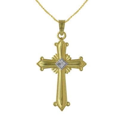 Majestique Womens 18K Gold Cross Pendant Necklace