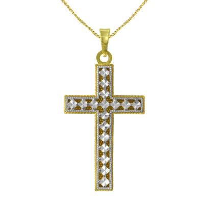 Majestique™ 18K Two-Tone Gold Diamond-Cut Reversible Cross Pendant Necklace